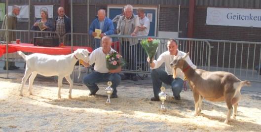 Algemeen kampioen lammeren Marijke 205 en algemeen kampioen geiten Sweelhoeve Grietje 30.