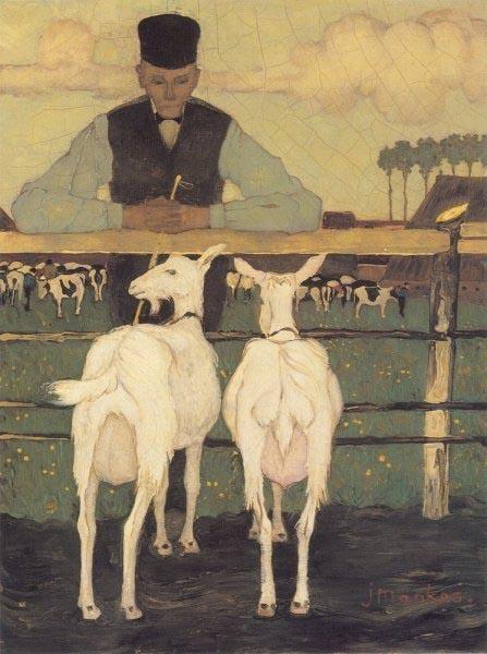 Boer met zijn geiten; Jan Mankes, 1914.