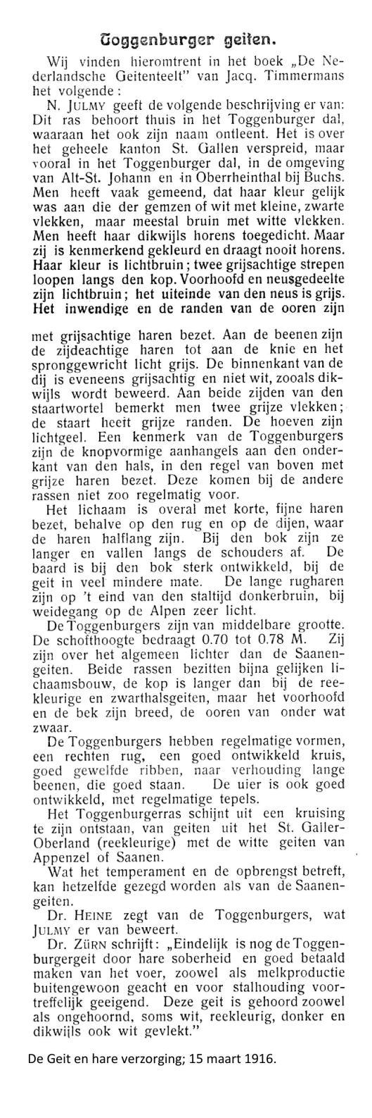 weblog; De Geit en hare verzorging. 1916 Toggenburger geiten.