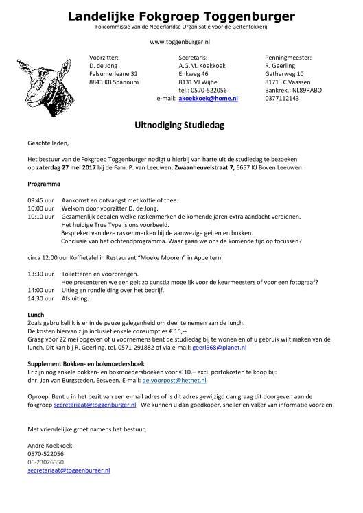 Toggenburger Fokgroep; 2017 Uitnodiging studiedag 2017.page1