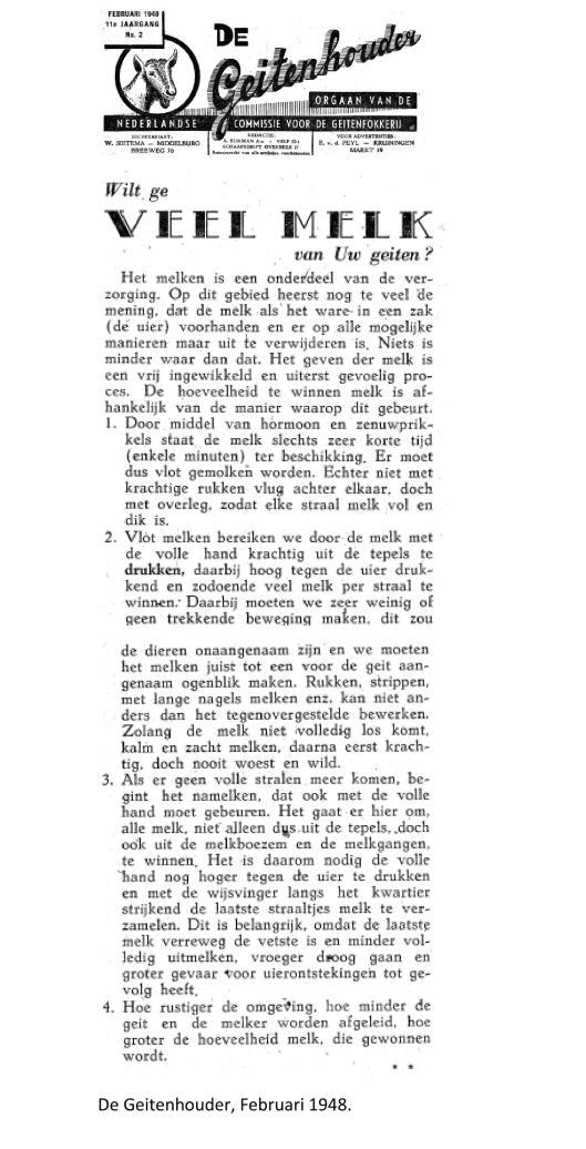 weblog; februari 1948, wilt u veel melk De Geitenhouder