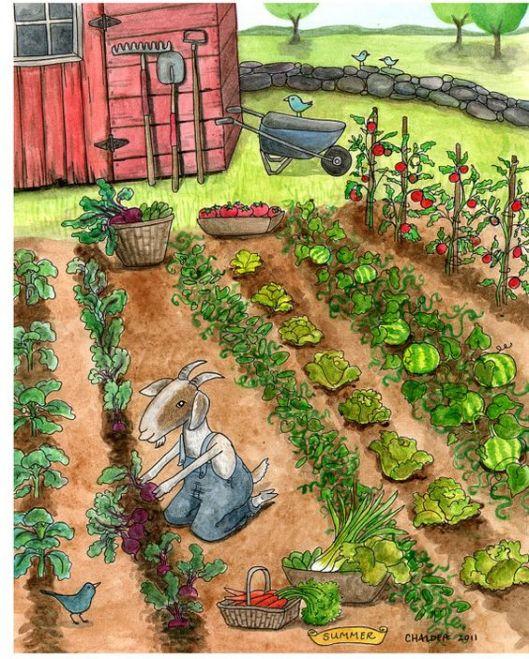 9284222d6c0f1266b611ecf1f7586d23.jpg summer vegetable garden farm themed art