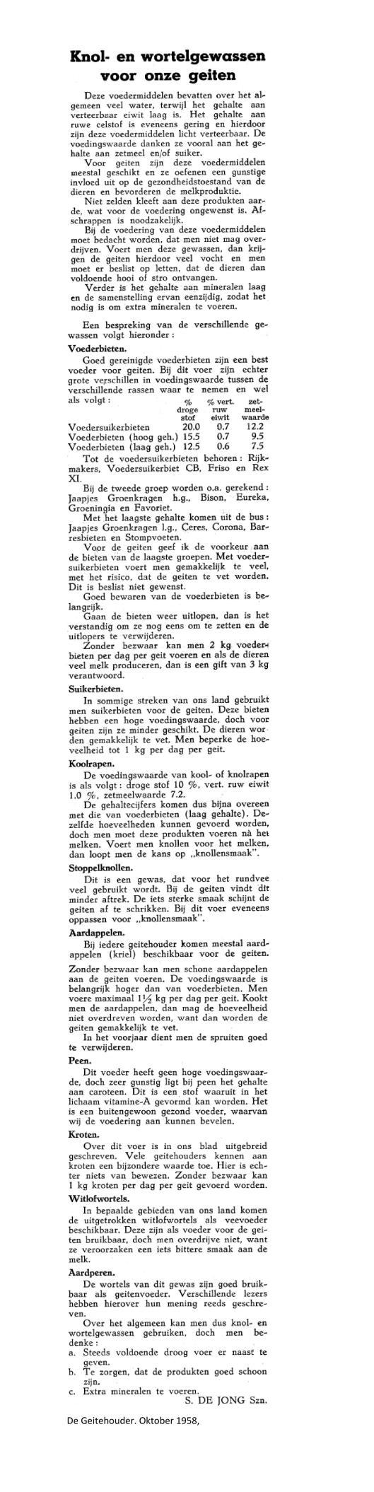 weblog Knolgewassen De Geitehouder oktober 1958