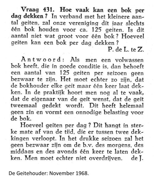 Weblog november 1968 De Geitehouder Hoe vaak kan men een bok laten dekken
