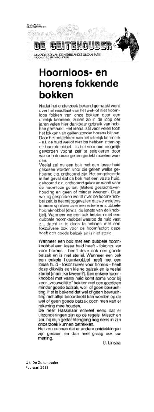 Weblog Hoornloos fokken februari 1988