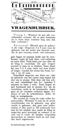 weblog; mei 1939 de geitenhouder vraag over de geboorte