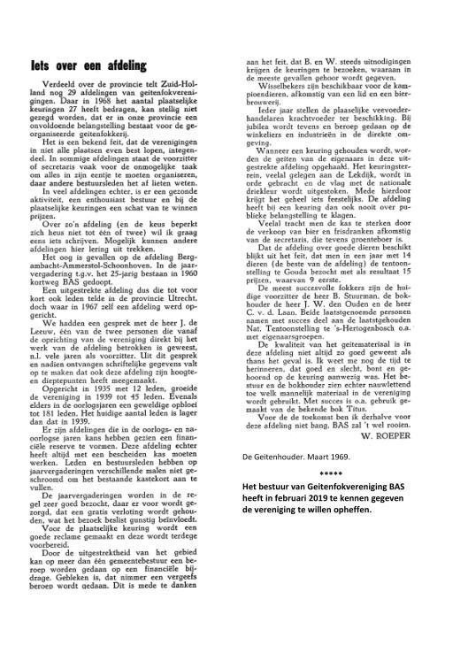 BAS. Iets over een afdeling door W. Roeper, maart 1969. De Geitenhouder