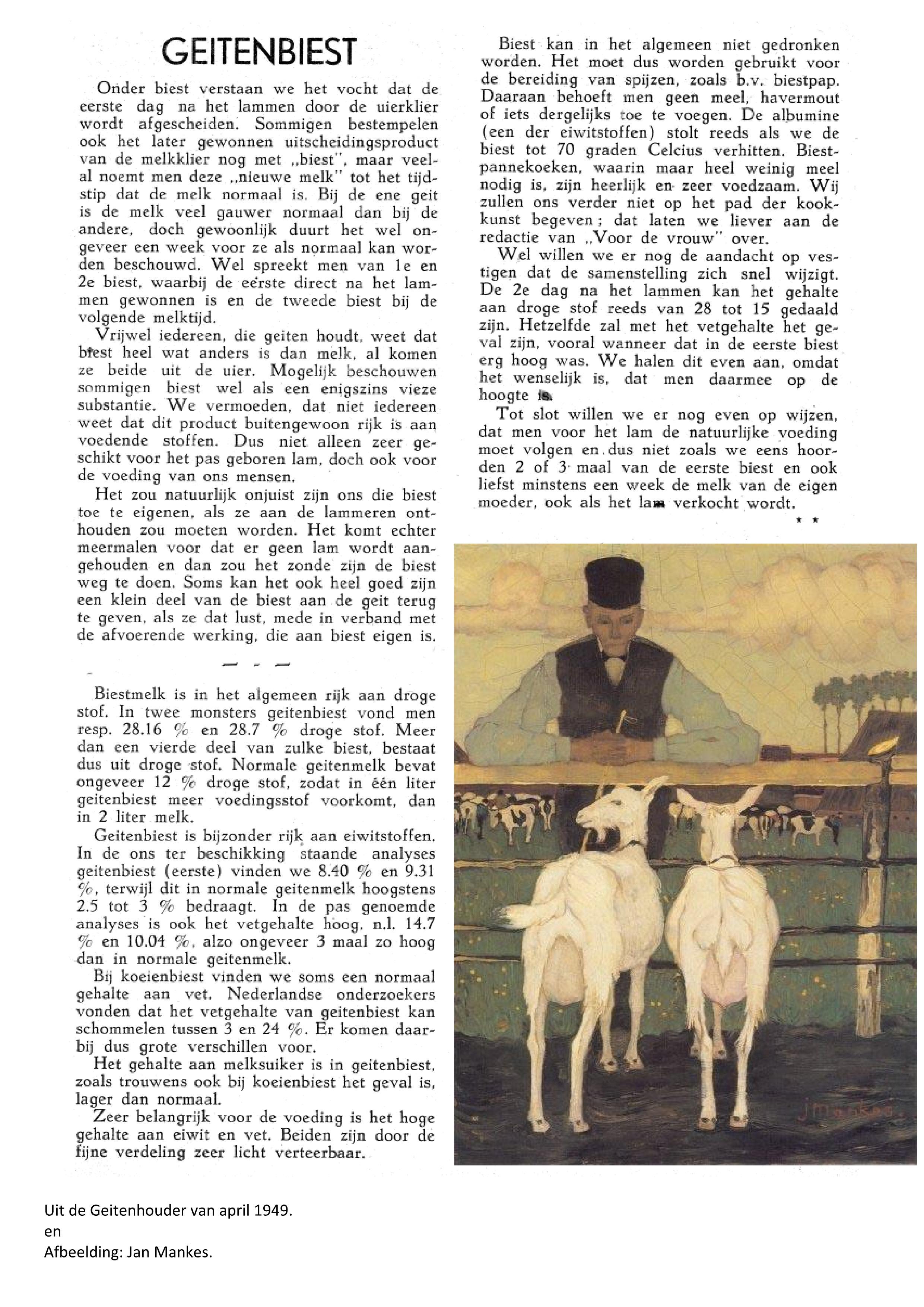 Weblog Geitenbiest Geitenhouder april 1949