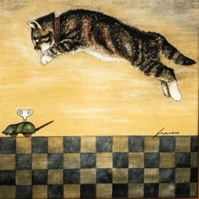 Lowell Herrero. kat met speelgoedmuis