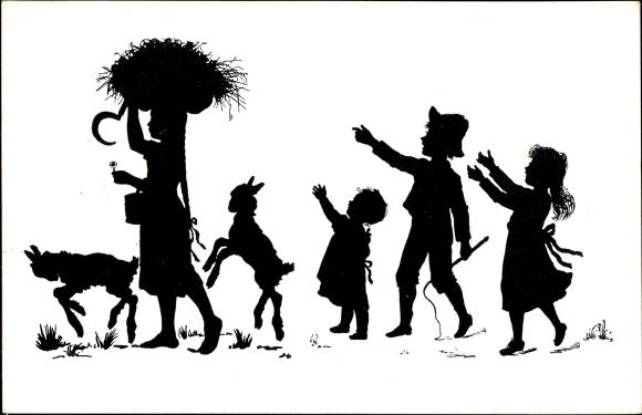 Scherenschnitt Postcard Kinder und Ziegen, Mädchen mit Korb voll Stroh auf dem Kopf, Sichel