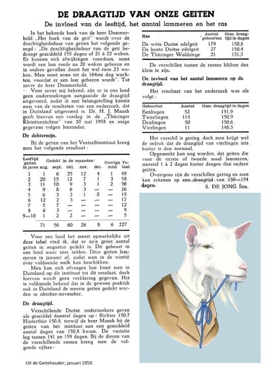 Weblog; Draagtijd door S. de Jong. Uit de Geitehouder januari 1959