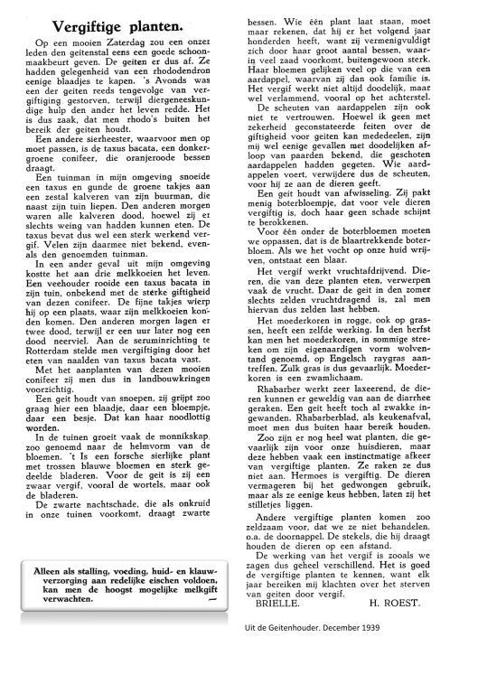 Weblog; vergiftigde planten december 1939 Uit de Geitenhouder