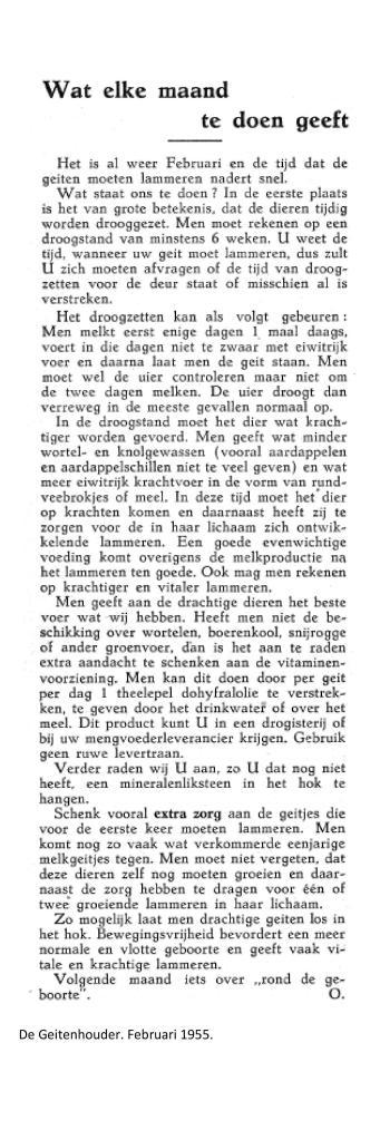 wat elke maand te doen geeft Februari 1955