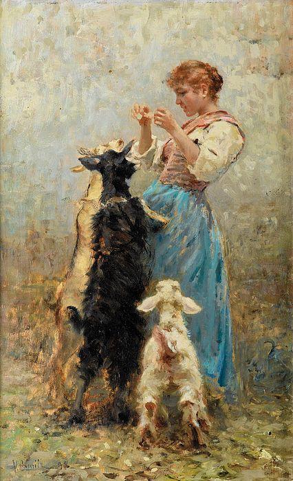 Vincenzo Caprile Young woman feeding goats