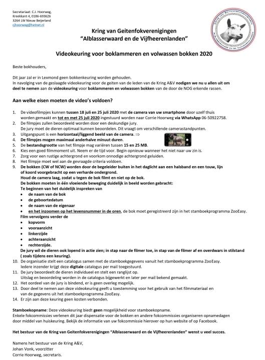 Kring A&V; 2020 zomer Videokeuring voor bokken